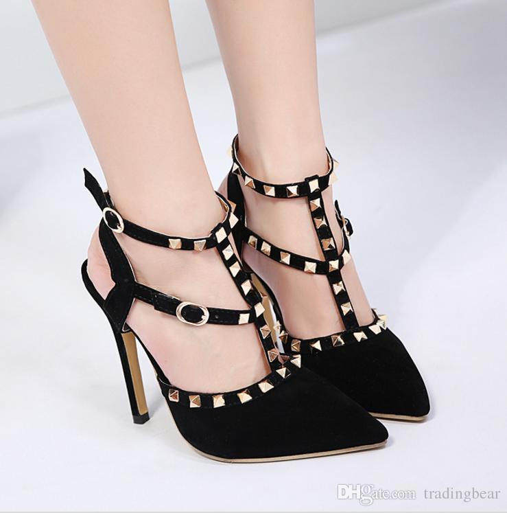 rock style fashion rivets boucle t sangle talons orteil orteil orteil 45e423