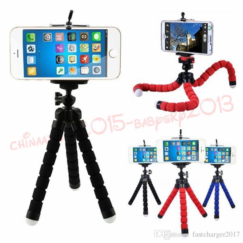Titular do tripé flexível de 3 colégio para câmera de carro de telefone celular Universal Mini Octopus Sponge Stand Selfie Monopod Mount com clipe por DHL