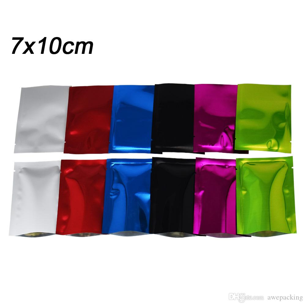 Wholesale 7*10cm Flat Colored Open Top Mylar Heat Sealing Package Bags Aluminum Foil Vacuum Coffee Tea Powder Food Pouch