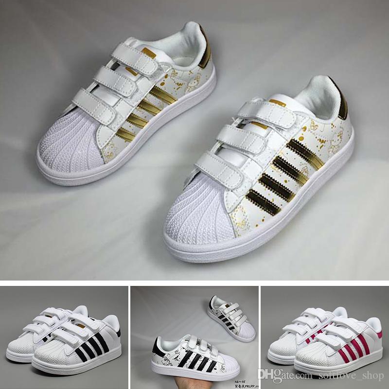 Schuhe White Superstars 2018 Super Sport Turnschuhe Kinder Original Star Mädchen Gold Originals Superstar Baby Jungen Adidas QeBoCWrdx