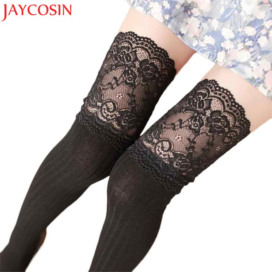 0aafe8549 2019 Sexy Lace Girl Stockings Women Spring Autumn Ladies Female Over Knee  Knitted Ladies Girl Leg Warmer Soft Cotton High Tight Jan19 From Matilian