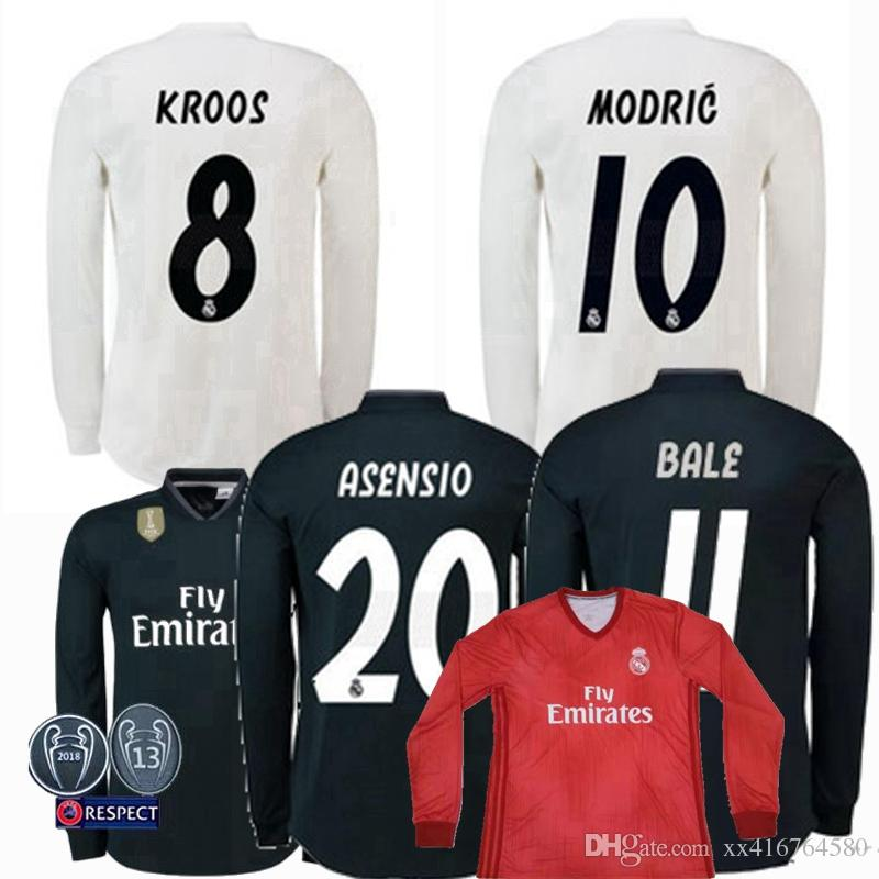 3dc5e6c24 2019 2018 2019 Real Madrid Long Sleeve Soccer Jersey ASENSIO Isco Ronaldo  Modric Kroos Sergio Ramos Bale 18 19 UCL 13 Cups Football Shirts S 2XL From  ...