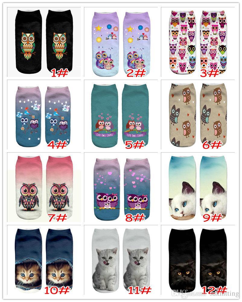 24 Estilos Niñas Impreso 3D Owl Cat Dog Bear Animal Print Calcetines Moda Novedad Low Cut Tobillo Calcetines Algodón Adolescente Calcetines de dibujos animados