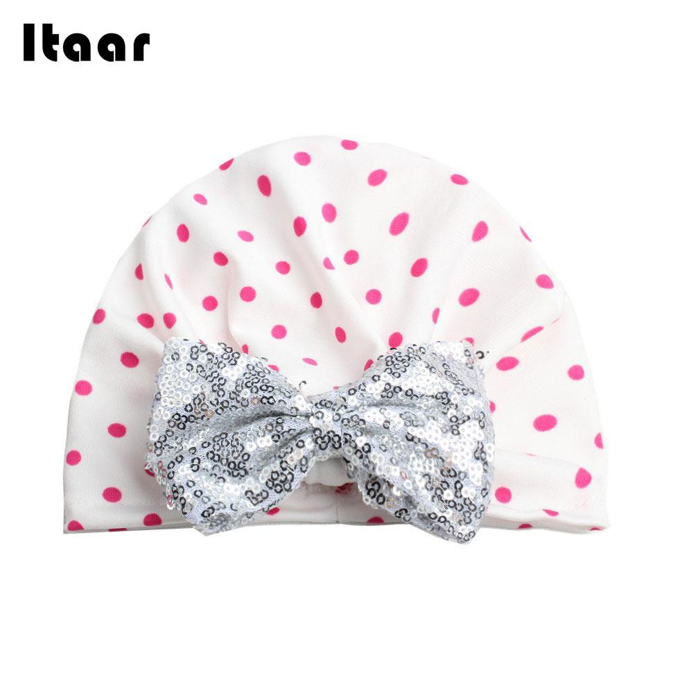 876e8a38 2019 Cotton Gifts Bowknot Baby Hats Kids Beanies Hat Comfy Girl Children  Sequins Cap Fashion Turbans Newborn Infant From Bdshop, $35.12 | DHgate.Com