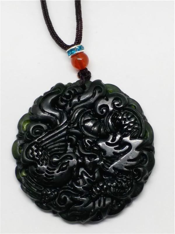 54a4cf0a42c7 Compre Natural Chino Negro Verde Jadeíta Jade Dragón Colgante Collar  Joyería Regalo Piedras Preciosas Por Mayor A  23.17 Del Chunyushi