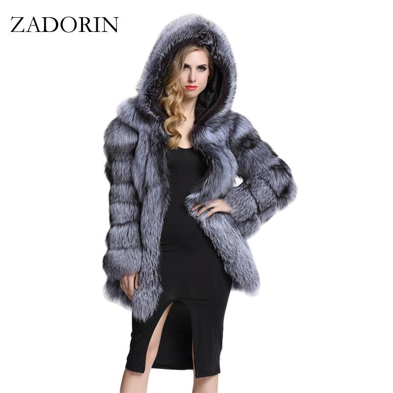 608cae2a49b6a 2019 Wholesale ZADORIN Elegant Long Faux Fur Coat Fluffy Jacket 2017 Winter  Women Thick Warm Faux Fur Coats With Hooded White Black Plus Size From ...