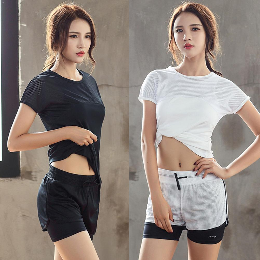 Brand New Hot Top Womens Color Patchwork Clothes Suit Sportwear Workout Exercise Sport Bra Top Short Pants Yoga Set