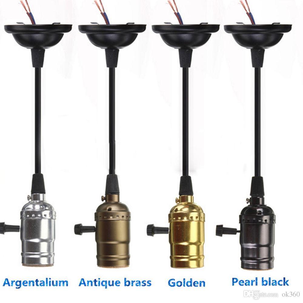 Rétro Vintage Edison E26 / E27 Vis Ampoule En Aluminium Shell Base Lampe Ampoule Titulaire Pendentif Éclairage Socket Plafond Adaptateur Câble