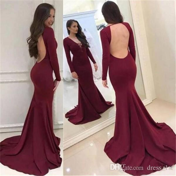 Sexy Tight Prom Dresses Mermaid V Neck Open Back Long Sleeves Court