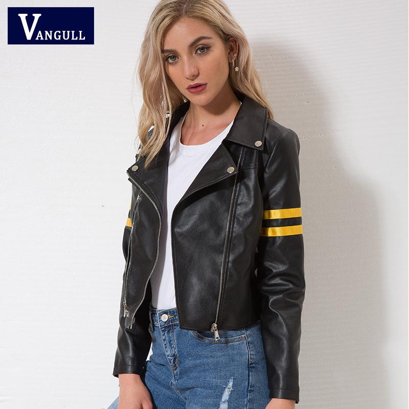 a88bcd2c769df 2019 Vangull Leather Jacket 2018 Spring New Women Zipper Moto Cool Street  Wear Autumn Winter Coat Female Black Faux Leather Jackets From Baldwing