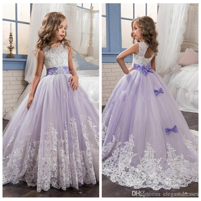 c223f2873f9 2018 Beautiful Lavender And White Flower Girls Dresses Beaded Lace  Appliqued Bows Girls Pageant Party Gowns Custom Bow Adorned Baby Flower  Girl Dress Baby ...