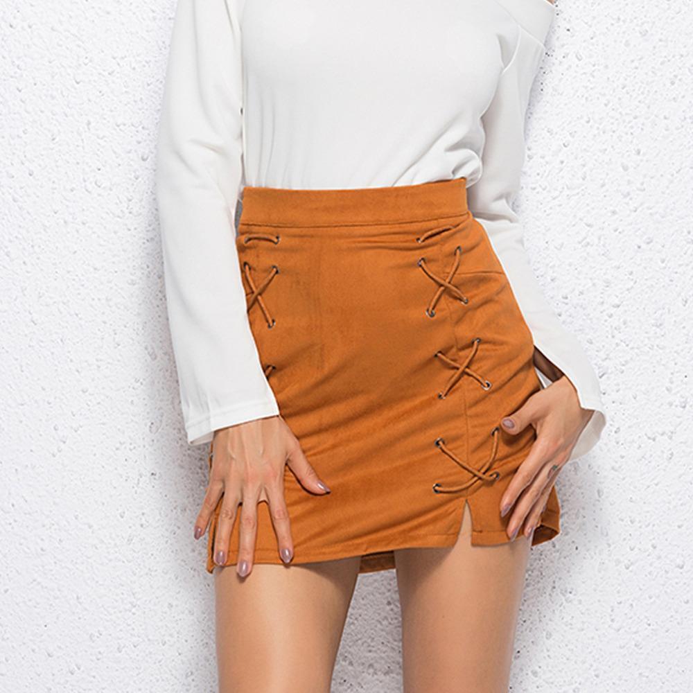 173cf8671 Buena calidad Cordones de ante de cuero falda lápiz Invierno 2019 cruz  cintura alta falda cremallera dividida bodycon faldas cortas para mujer