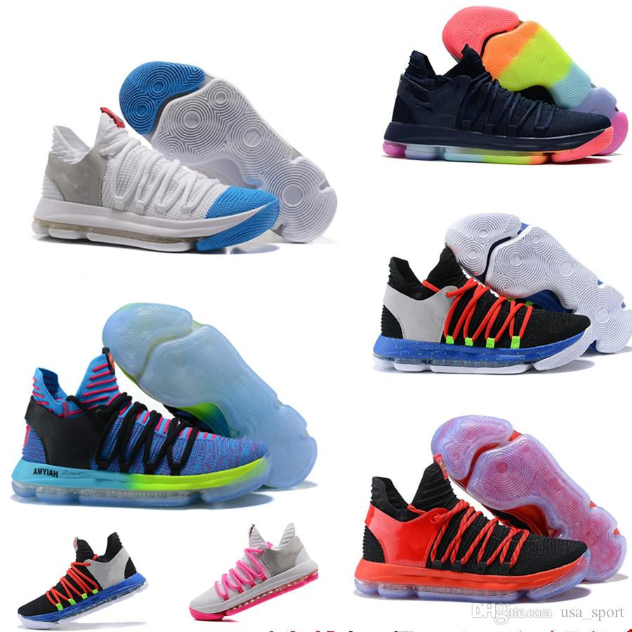2018 Newest KD DuRant Basketball Shoes Zoom 10 Anniversary PE Oreo Be True  UniversIty Red White Chrome KevIn 10 Sports Sneakers Size 7 12 Cheap  Sneakers ... b4c1d84a6