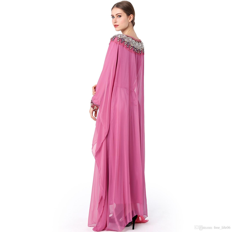 Abaya musulmano abiti lunghi Jalabiya Medio Oriente Emirati Arabi Uniti Dubai arabo abiti formali abiti da donna ricamo perline abiti