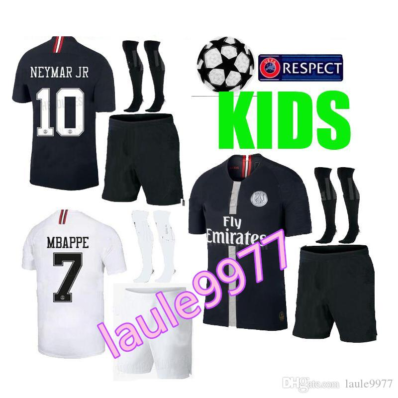 ef910f5b8 Kids Champions League Psg Soccer Jersey Kit Paris 18 19 Mbappe Black  Maillot De Foot 2018 2019 CAVANI PRE MATCH Boys Child Football Shirts UK  2019 From ...