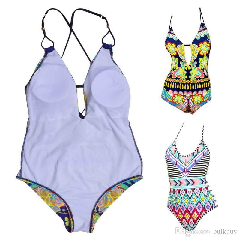مثير طباعة الأزهار حزام قطعة واحدة عالية الخصر ملابس داخلية زهرة المرأة شاطئ السباحة المايوه