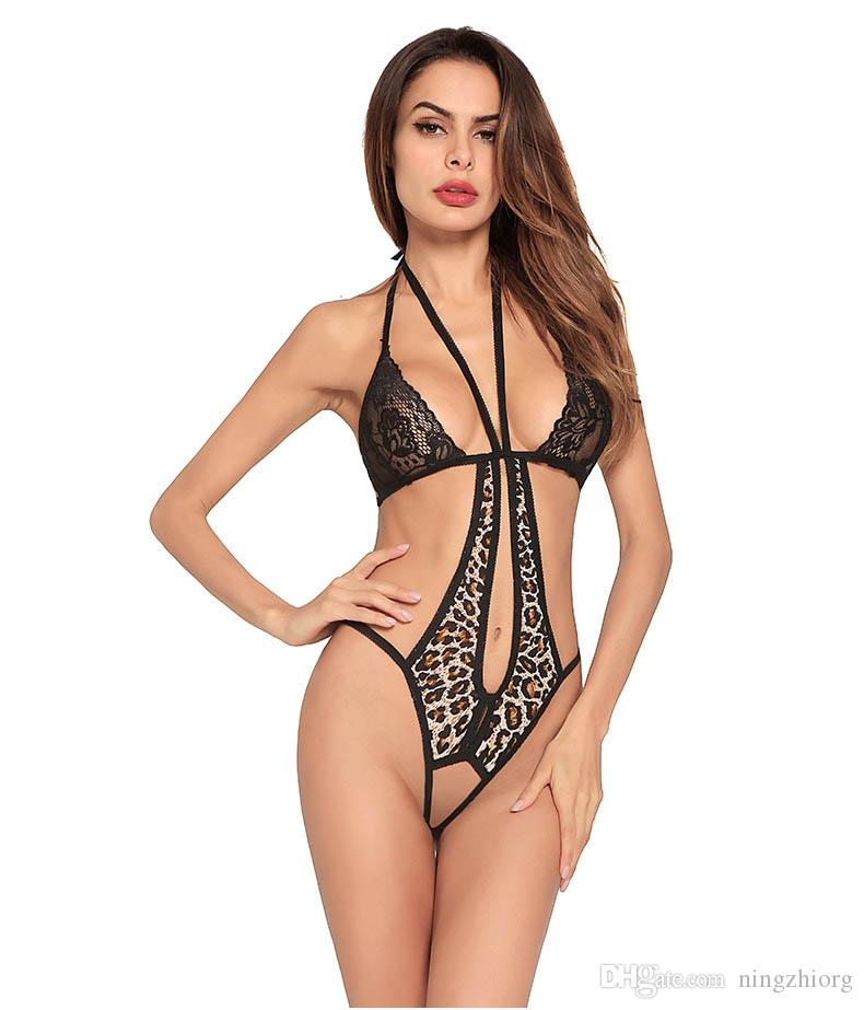 Erotic Underwear 2018 New European And American Ladies Lace Open Stalls Sexy  Underwear Leopard Tattoo Hot Hanging Neck UK 2019 From Ningzhiorg 26059562c