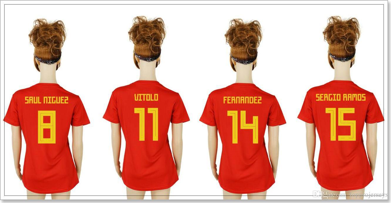 76963d58d9a 2019 Spain New Womens  8 Saul Níguez 11 Vitolo 14 Nacho Fernandez 15 Sergio  Ramos Pro Custom Football Shirts Team Soccer Jerseys Sz S XL For Sale From  ...