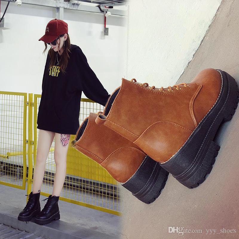 fb16f1e55 Compre Moda De Invierno Estudiante Británico De Estilo Botas Cortas Para  Mujer Zapatos De Tobillo Botas De Fondo Grueso Talón Grueso Y Plano Botas De  Martin ...