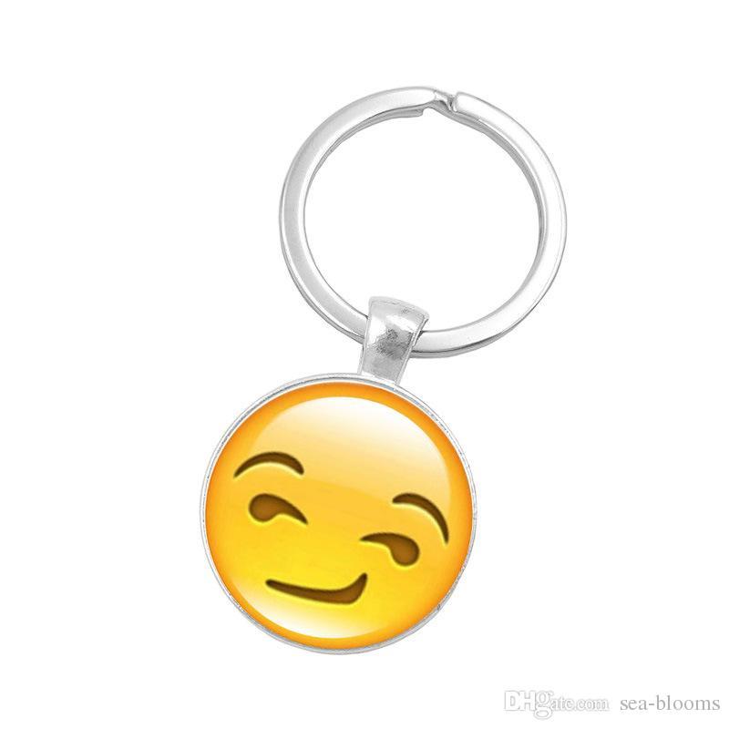 Argent Couleur Emoji Verre Cabochon Porte-Clé Sourire Smileys Visage Porte-clés Porte-clés Porte-Bijoux Cadeau D604S
