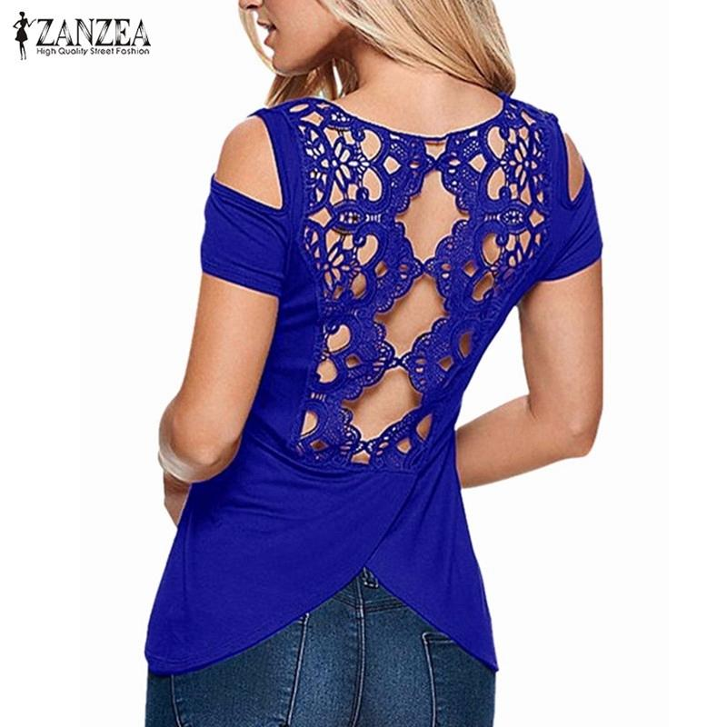 d91f2c407b Sexy Off Shoulder Lace Solid Tees Tops 2018 Summer Blusas Shirts Short  Sleeve Hollow Backless Blouses ZANZEA Women Plus Size 5XL Y1891302