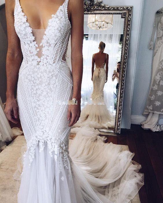 6384b16f40ac 2017 Berta Bridal Gowns Mermaid Lace Applique Wedding Dresses Deep V Neck  Sexy Back Unique Sweep Train Custom Made 2017 Wedding Dress Mermaid Type  Wedding ...