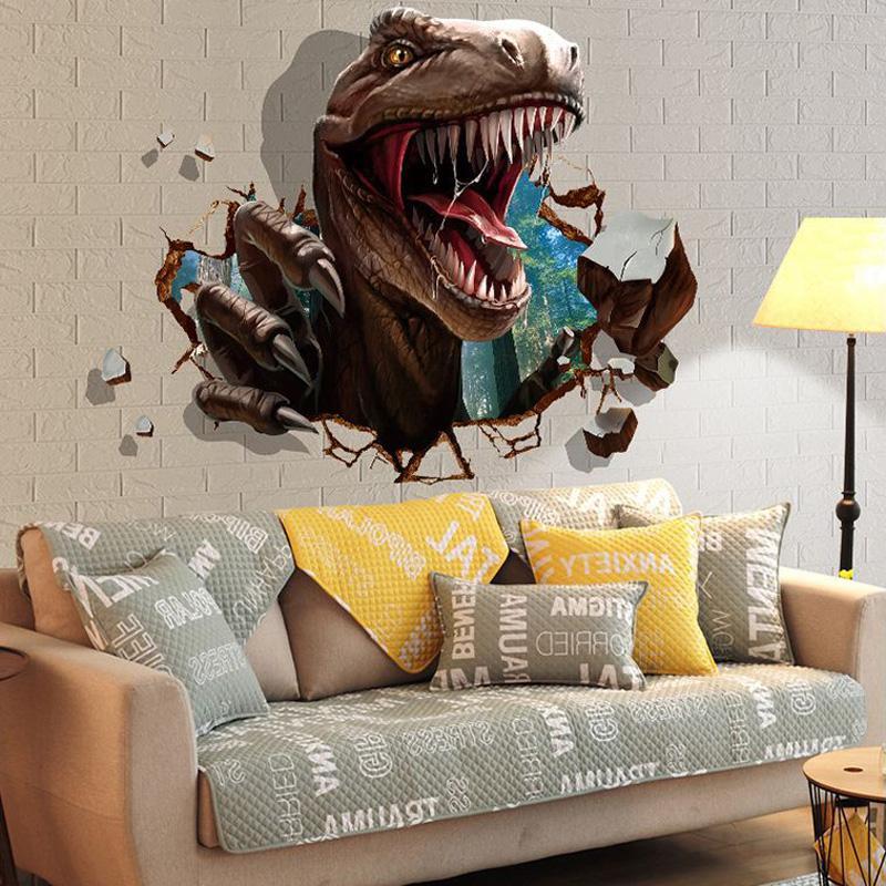 Acquista 3d Adesivi Murali Dinosauro Camere Bambini Dinosaur Assault