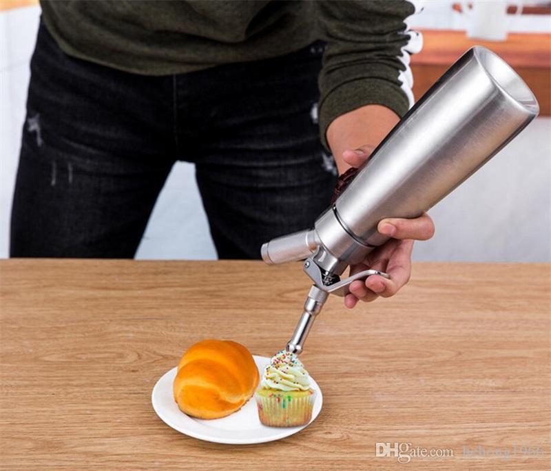 1000ml Creative Cream Foam Maker Pillar Shape Decorating Machine Aluminum Siphon Flower Style Coffee Essential Simple Operation 85sj Y