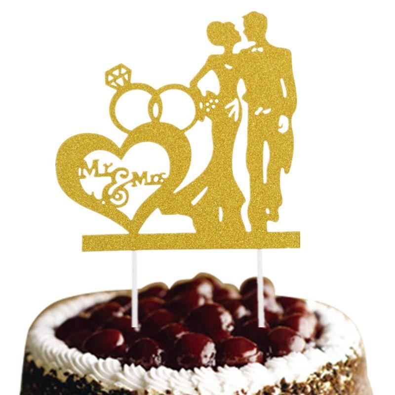 2018 Mr &Amp; Mrs Cake Flag Bridal Cake Toppers Multi Colors Wedding ...