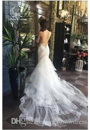 2018 Sheer Mesh Top Lace Mermaid Wedding Dresses With Detachable Skirts Tulle Appliques Beaded Backless Wedding Dresses Bridal Gowns BA912