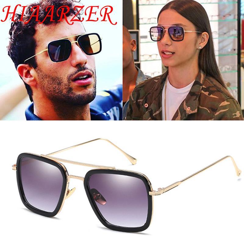 3ac93447439fb Compre Moda Tony Stark Vôo Óculos De Sol Dos Homens Quadrados De Alta  Qualidade Marca De Luxo Óculos De Sol UV400 Oculos De Sol Com Pacote De  Fashionkiss