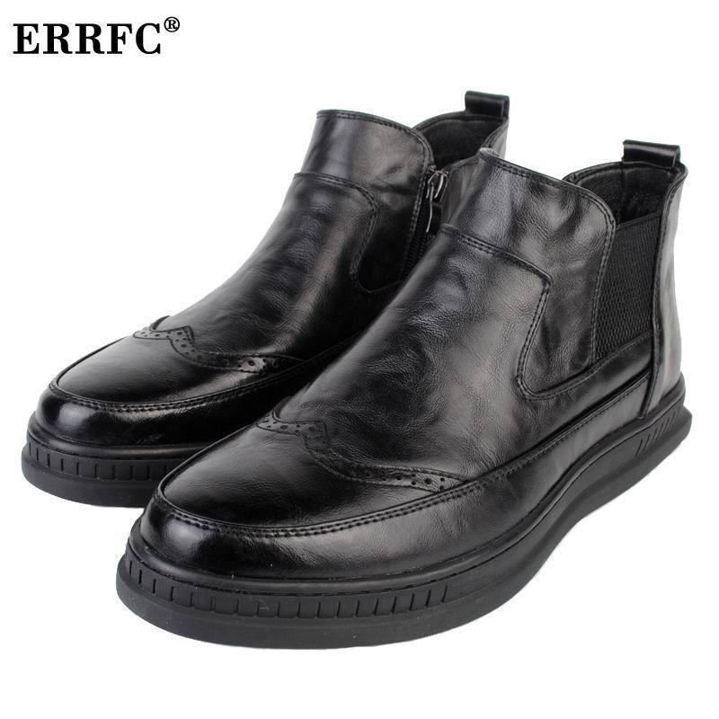 a99d866d4b Compre ERRFC Britânico Mens Moda Dedo Do Pé Redondo Alta Top Sapatos Brogue  Desenhador Deslizamento No Chelsea Tornozelo Curto Bota Para Homem Preto  Martin ...