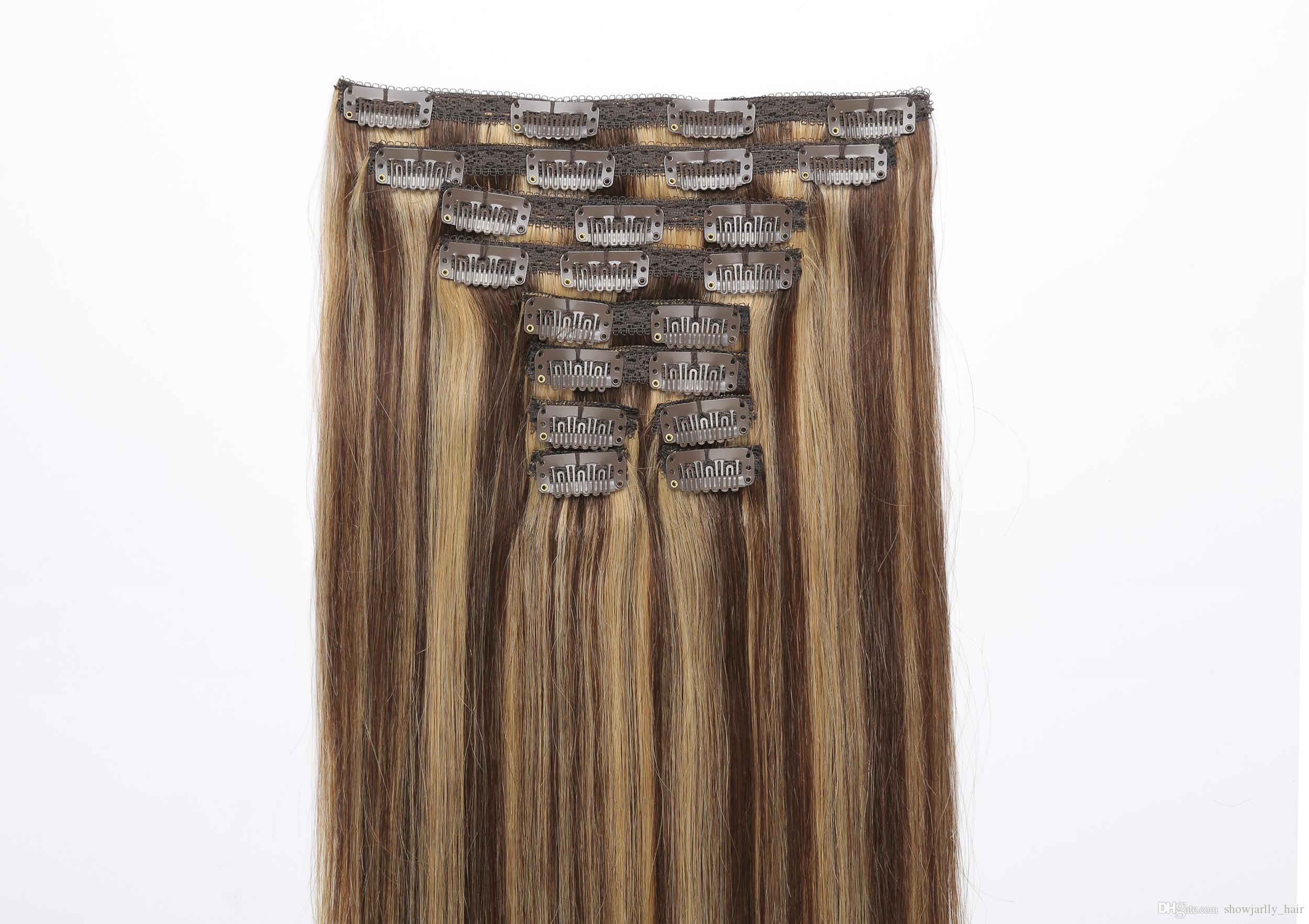 Brown Mix Blonde Straight Clip On Hair Extensions Fine Hair Full