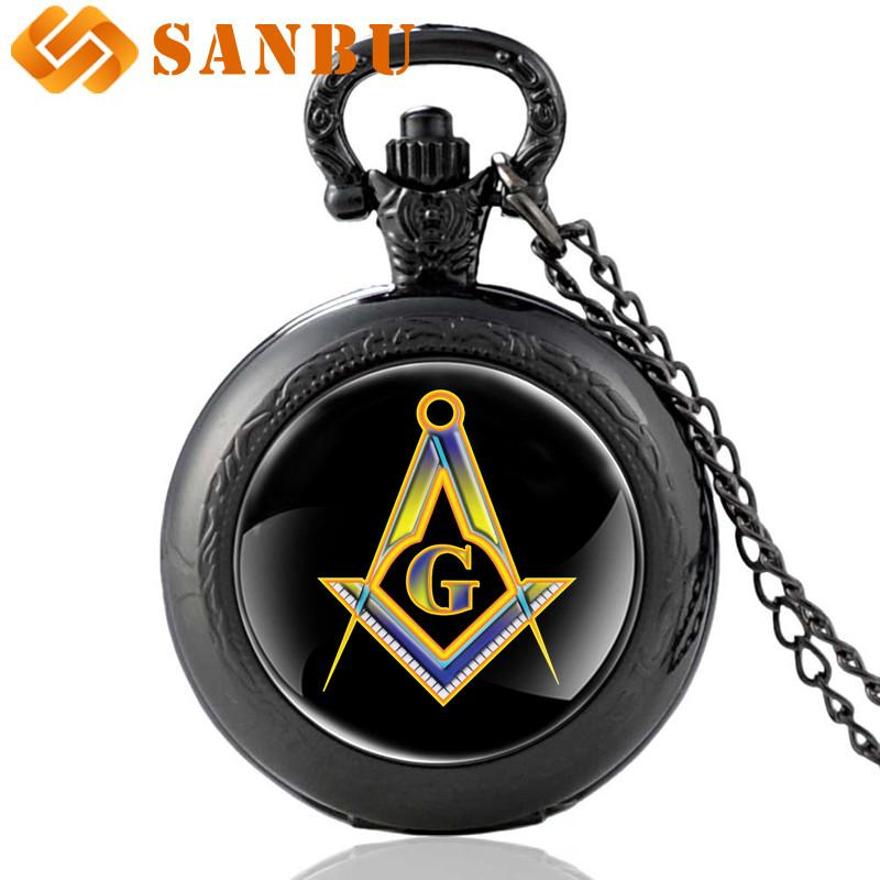 Vintage Black Masonic Quartz Pocket Watch Vintage Men Women Free and  Accepted Masons Pendant Necklace Watches