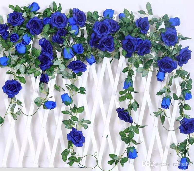 2018 65ft artificial rose vine silk flower garland hanging baskets 2018 65ft artificial rose vine silk flower garland hanging baskets plants home outdoor wedding arch garden wall decorpack of 2 royal blue from rexbaby mightylinksfo