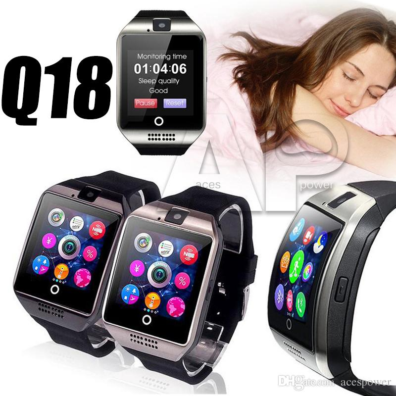 Q18 Smart Watch Passometer with Touch Screen camera watches Support TF card smartwatch for Android With Box