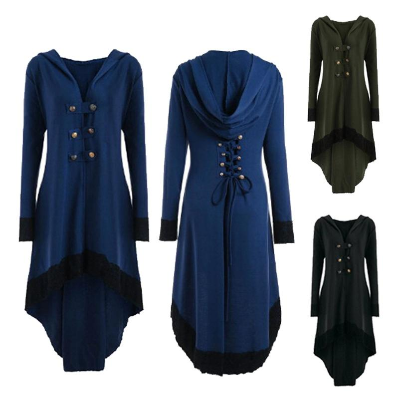 Women Gothic V Collar Hooded Lace Up Renaissance Dress Long Sleeve