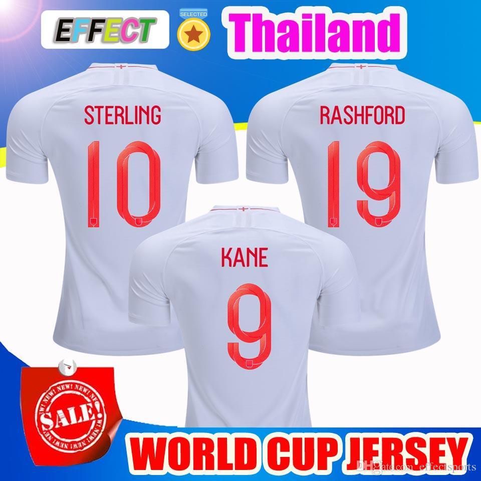 Venta Al Por Mayor Tailandia Calidad 2018 Inglaterra Copa Del Mundo De  Fútbol Jersey Kit 9   KANE 10   ESTERLINA 11   VARDY 19   RASHFORD 20    DELE ... c7ece485aeac7