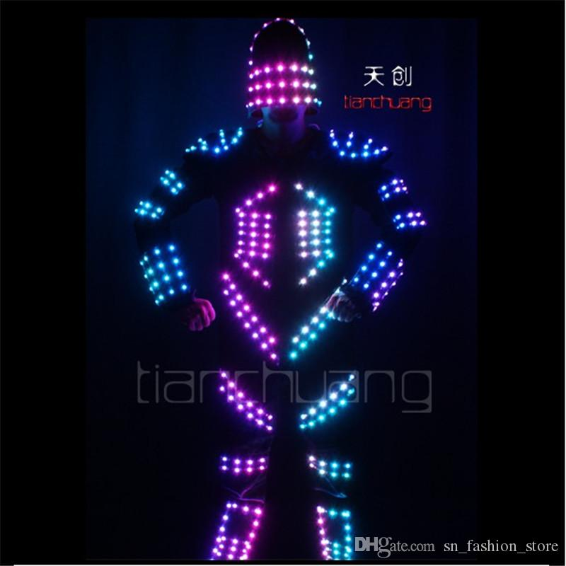 2018 Tc 129 Program Led Colorful Lights Robot Stilts Costumes Led Party  Singer Wear Ballroom Dance Clothes Led Dj Luminous Light Suit Performance  From ...