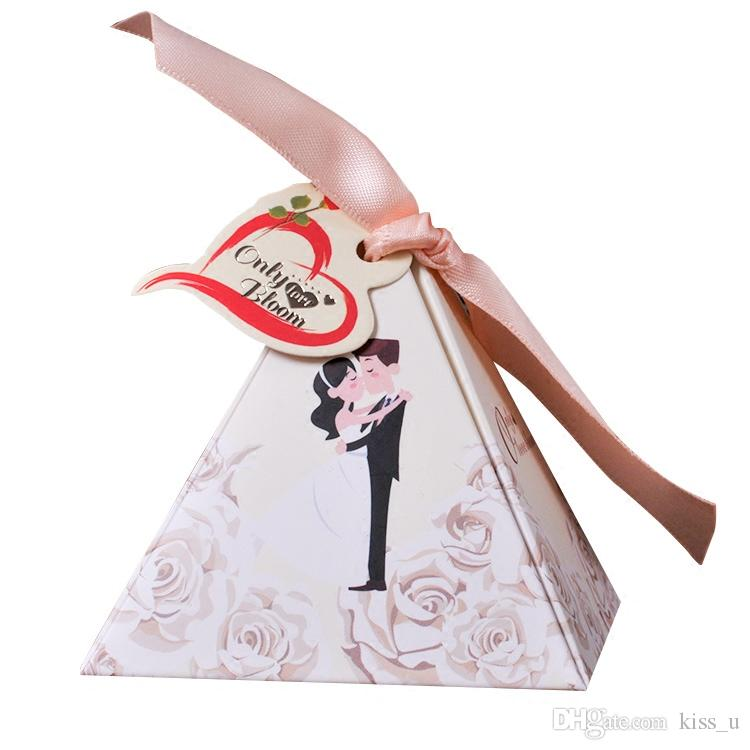 Sweet Love Pyramid Triangle Paper Candy Box With Ribbon Wedding