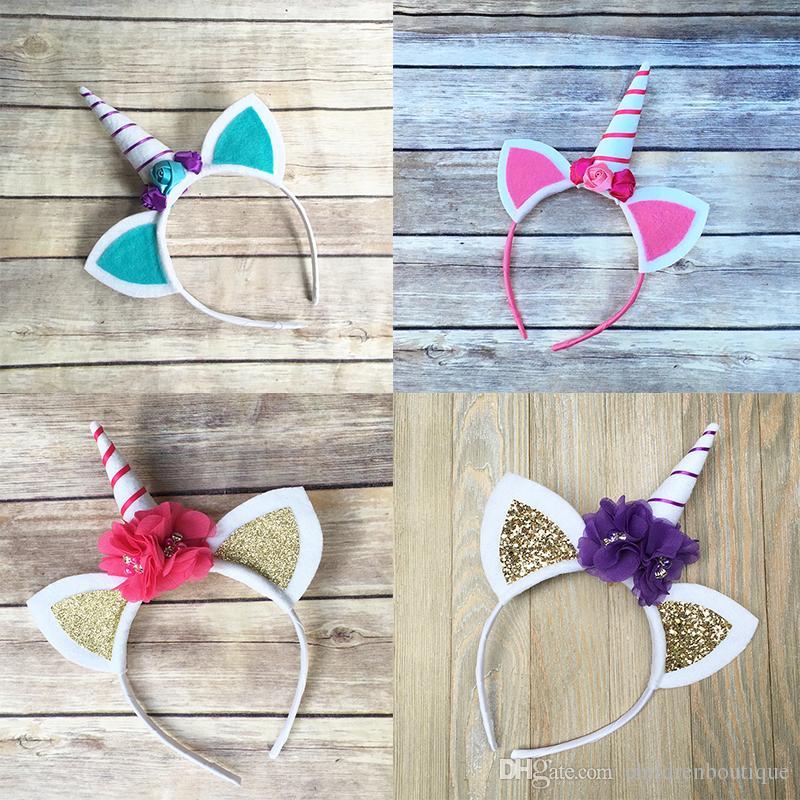 b45ac6749fa8e Girls Cute Unicorn Headband Cat s Ear Flower Hairband Kids Birthday ...