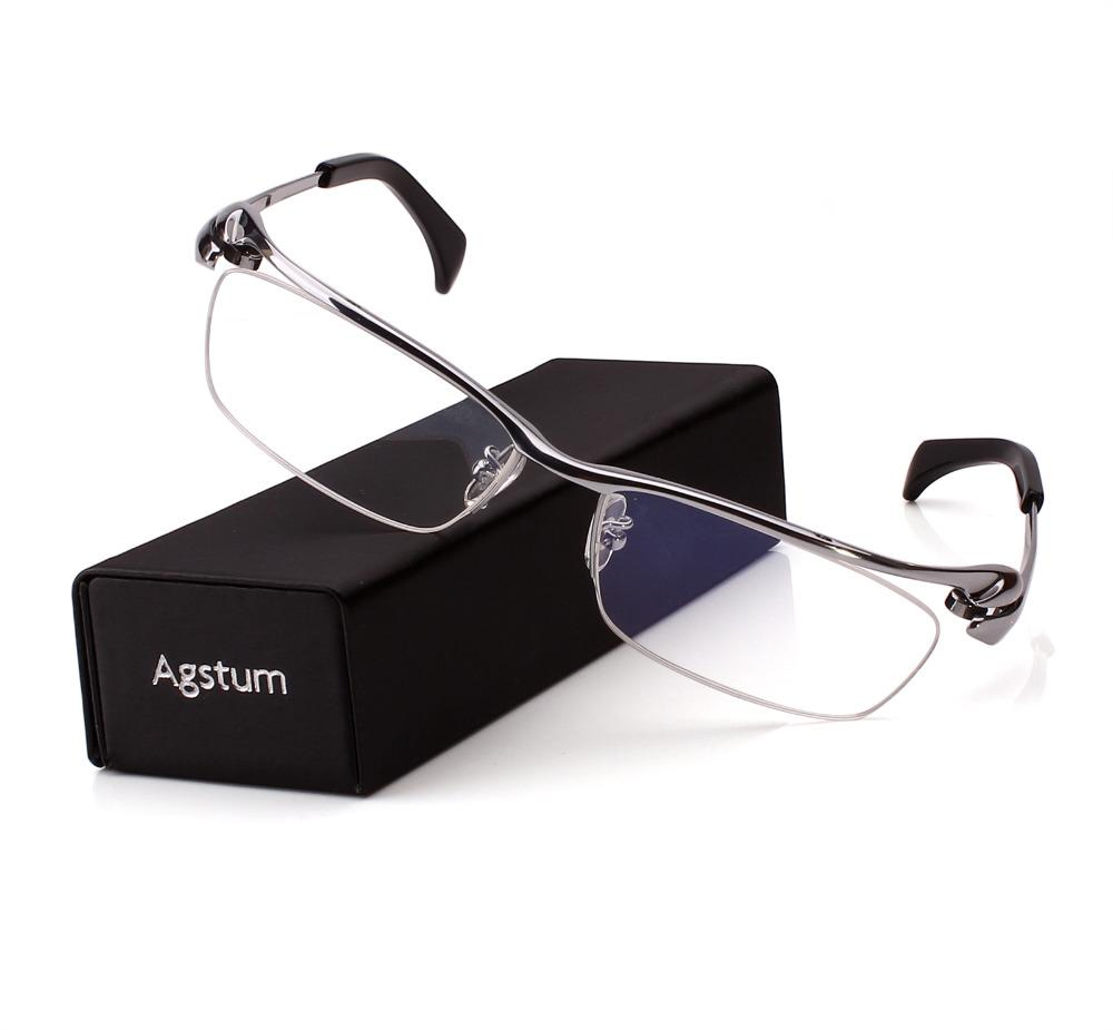 5b59a086831 2019 Agstum Pure Titanium Mens Half Rim Bussiness Eyeglasses Frames Optical  Clear Lens Rx From Lbdwatches