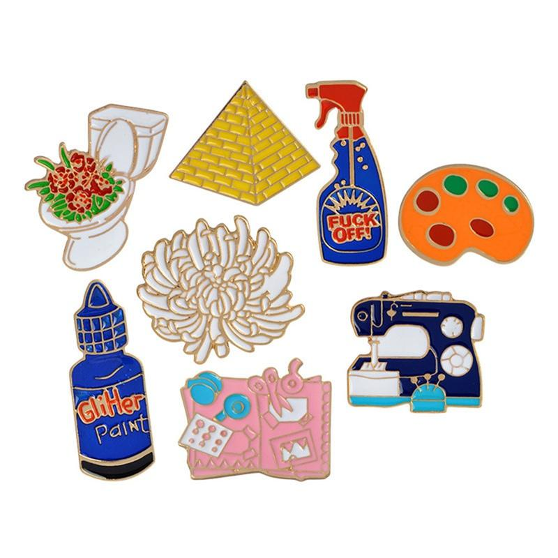 Enamel pins Toilet flower Sewing machine Palette pyramid paint Hand tools  Brooch Button Pin Denim Jacket Pin Badge Gift Jewelry