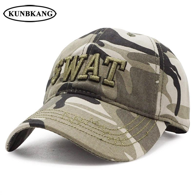 f7f4b1354d4 New Men Camouflage Tactical Baseball Cap Embroidery SWAT Cotton Sports Dad  Hat Male Outdoor Army Camo Trucker Cap Snapback Hats Flat Caps For Men  Womens ...