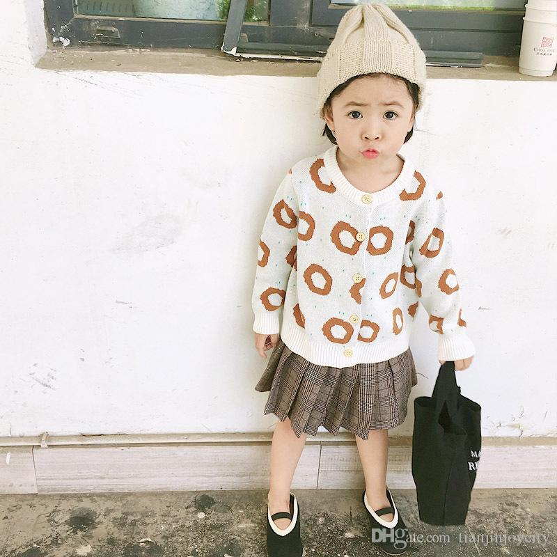 Toddler Girls Cardigans Coat Cake Pattern Baby Boys Knitted Jackets