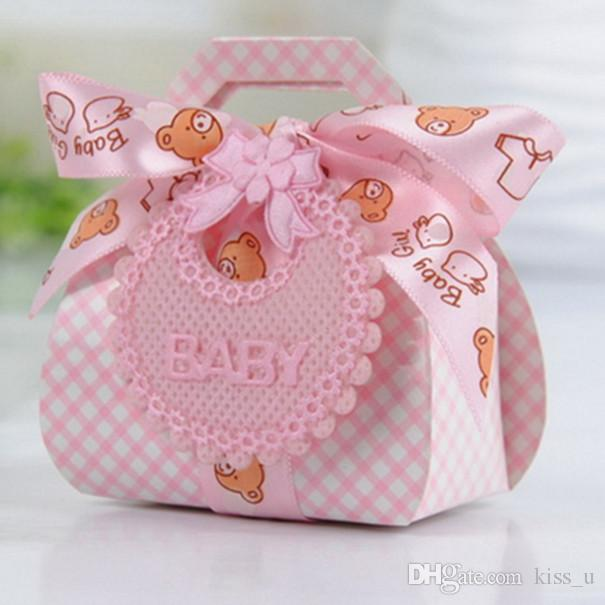 Bear Shape DIY Paper Wedding Gift Christening Baby Shower Party Favor Boxes Candy Box with Bib Tags Ribbons