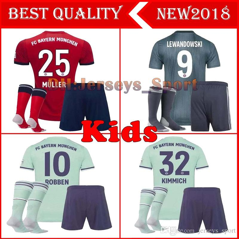 online store 3a9dd 3f3aa 3 kids kits 2018 2019 Bayern Munich jersey 18 19 MULLER VIDAL LEWANDOWSKI  ROBBEN TOLISSO home soccer jerseyS JAMES youth Football shirt