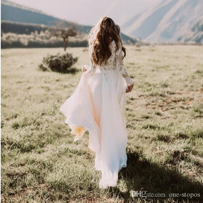 Bohemian Country Bröllopsklänningar med Sheer Långärmade Bateau Neck En Line Lace Applique Chiffon Boho Bridal Gowns Cheap