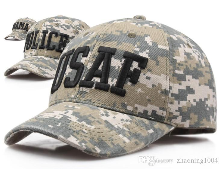 31f3c7eb5ab16 Mens Designer Caps Curved Camo Baseball Cap ARMY USAF POLICE OBAMA Letters  Embroidery Adjustable Military Hats For Adults Mens Womens Cap Online  Starter Cap ...