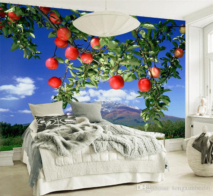 Custom Photo Large mural oil painting apple forest fresh pastoral wallpaper custom TV backdrop wall wallpaper